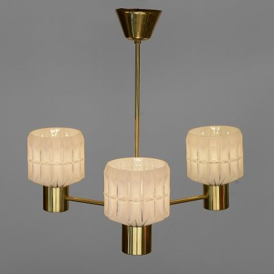 Three arm brass chandelier with glass shades, Sweden 1960s