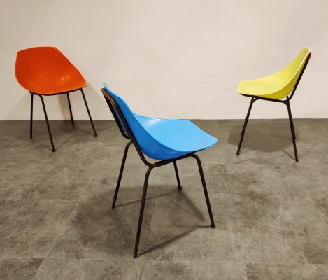 Set of 3 Vintage Coquillage chairs by Pierre Guariche for Meurop, 1960s