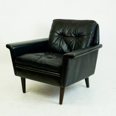 Danish Black Leather & Rosewood Lounge Chair