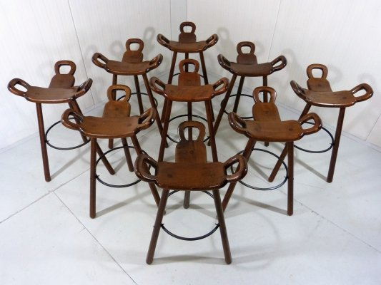 Set of 9 Marbella barstools by Confonorm, 1970's