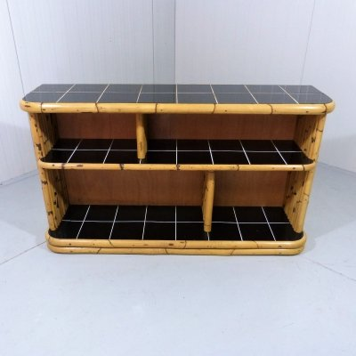 Bamboo rack / display with black tiles, 1950's
