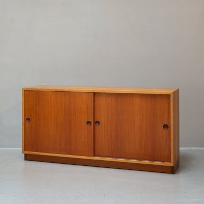 Rare Børge Mogensen Sideboard in Pinewood veneer with Teakwood sliding doors
