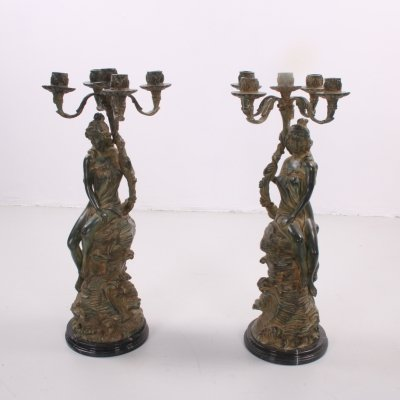 Pair of French Zamac Candelabras