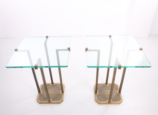 Pair of Peter Ghyzcy 'T18' side tables, 1970s