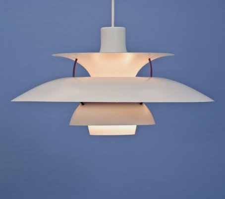PH5 hanging lamp in white by Poul Henningsen for Louis Poulsen, 1960s