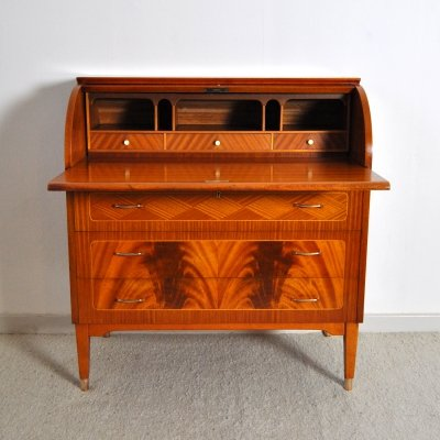 Swedish cabinetmaker roll-top secretary with a pull out writing desk