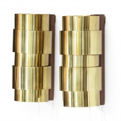 Brass wall sconces by Hans-Agne Jakobsson for H-A Jakobson Markary AB, Sweden 1960s