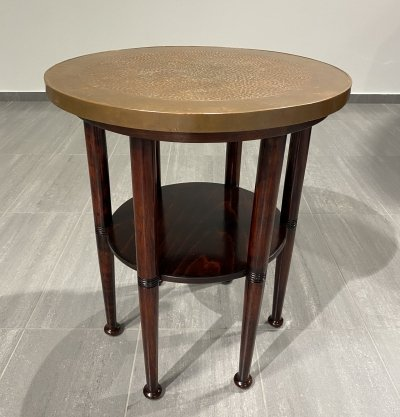 Adolf Loos six-legged table with copper plate, 1920s