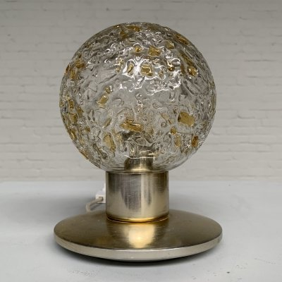 Brass & glass table lamp by Doria Leuchten, Germany 1970s