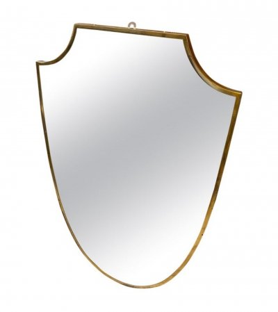 1950s Mid-Century Modern Brass Italian Shield Wall Mirror