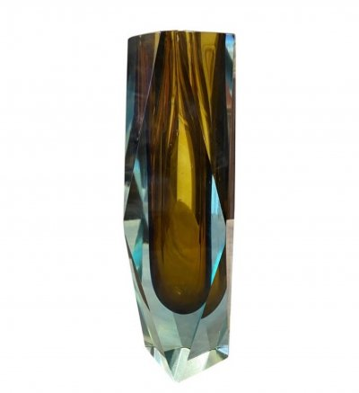 1970s Blue & Brown Faceted Sommerso Murano Glass vase by Seguso