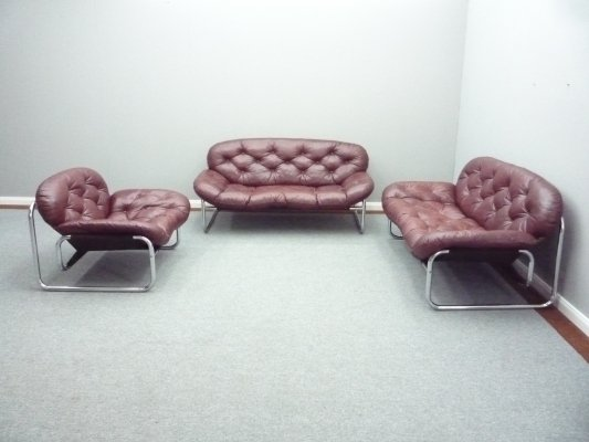 Vintage Leather Sofa by Johan Bertil Häggström for Ikea, 1970s