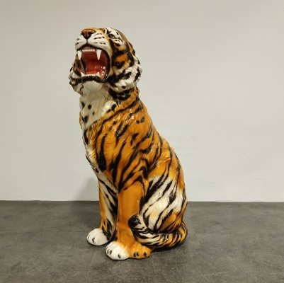 XXL Ceramic Hand Painted Tiger, Italy 1970's