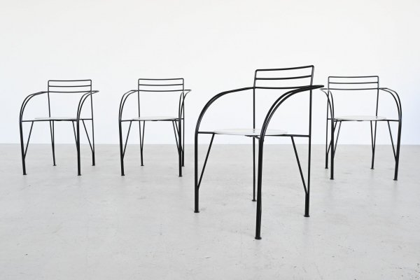Pascal Mourgue Silver Moon dining chairs by Fermob, France 1985
