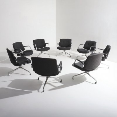 Set of 9 rare FK-84 armchairs by Preben Fabricius & Jorgen Kastholm