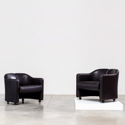 Eugenio Gerli two modern leather lounge chairs by Tecno Milano, 1960