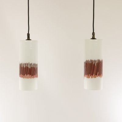 Pair of red striped glass pendants by Massimo Vignelli for Venini