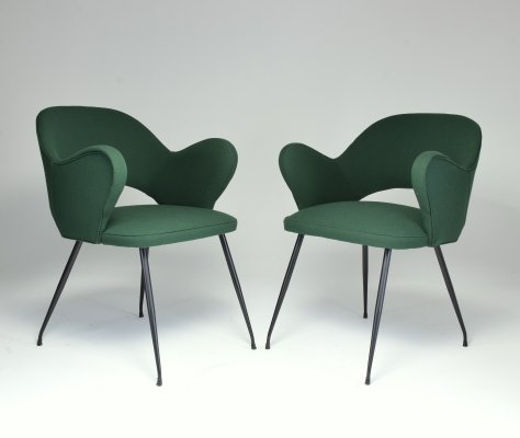 1950s Pair of Italian Green Armchairs
