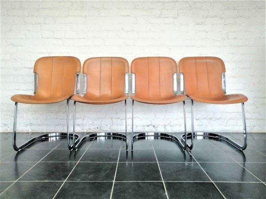 Set of 4 Willy Rizzo dining chairs for Cidue, 1970s