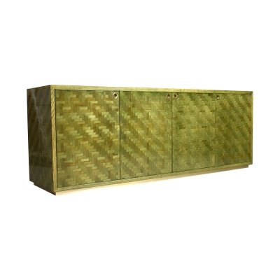 Italian credenza in woven banana leaf & brass details, circa 1970