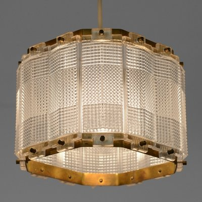 Brass & crystal pendant light by Carl Fagerlund for Orrefors, Sweden 1960s