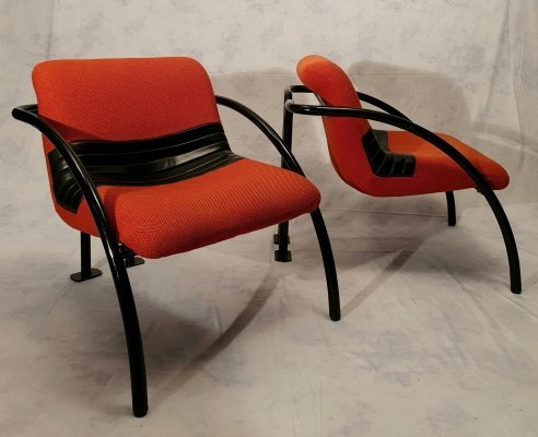 Pair of Metal Lounge Chairs from Airborne, 1980s