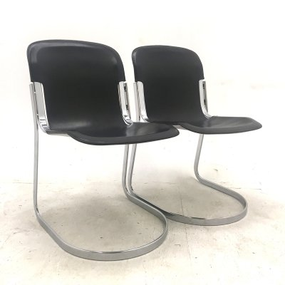 Dark brown leather Italian design C2 chairs by Willy Rizzo for Cidue, 1970s