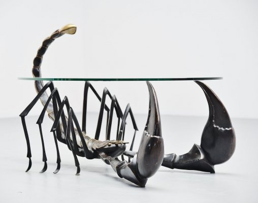 Jacques Duval Brasseur scorpion coffee table in bronze, France 1970