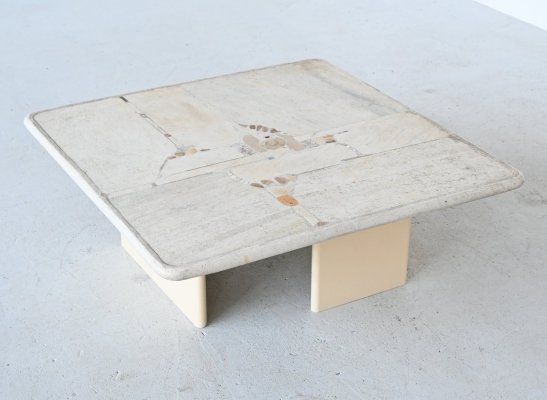 Paul Kingma white square coffee table, Netherlands 1999