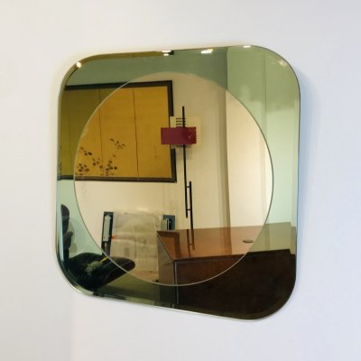 Mirror in Green Cut Glass, Italy 1980's