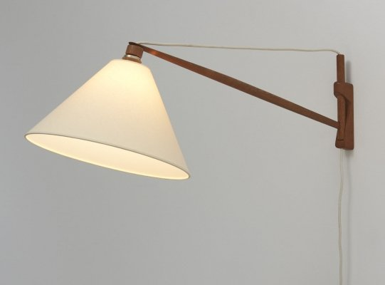 Swing Arm Wall Lamp in Teak, Denmark 1950's