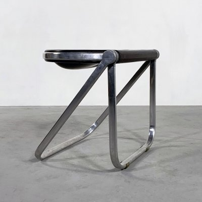 Brown Pluff Folding Stool by Giancarlo Piretti for Castelli, 1970s