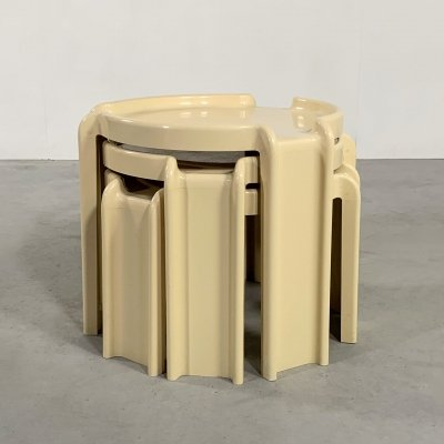 Set of Cream Nesting Tables by Giotto Stoppino for Kartell, 1970s