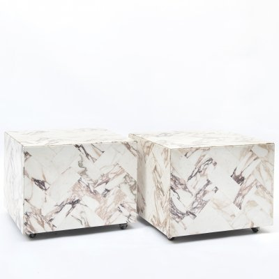 Vintage Cube-Shaped side tables in marble, 1970s