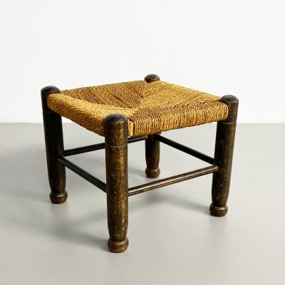 Small Vintage French Oak & Rush Stool