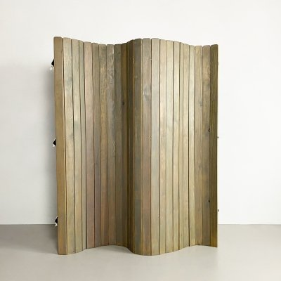 Vintage Stained Pine Tambour Room Divider, c.1970