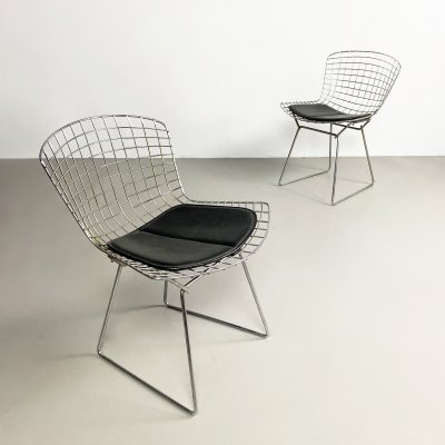 Pair of Early Chrome Bertoia Side Chairs by Knoll