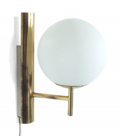 Brass & glass wall light, 1960s