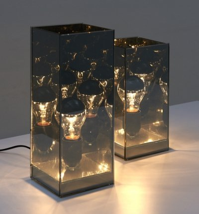 Set of Two Table Lamps in Black Mirror, 1970's