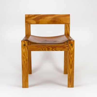 Pine & Cognac Leather Side Chair, Denmark 1970s