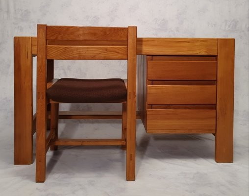 Brutalist Elm Desk & Chair from Maison Regain, 1960s