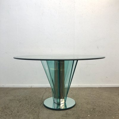 Round faceted tempered glass dining table, 1980s