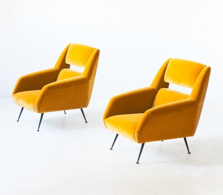 Pair of Italian Senape Yellow Velvet Lounge Chairs by Gigi Radice