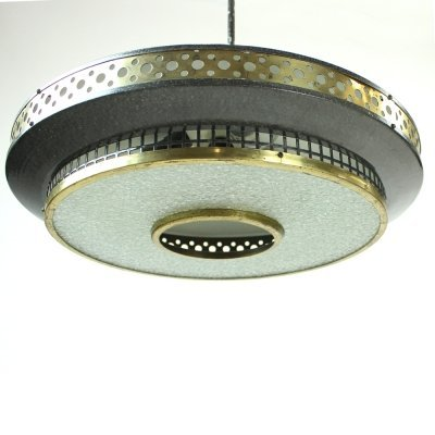 Midcentury Ceiling Light In Black Metal & Brass, Czechoslovakia 1970s