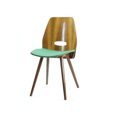 Frantisek Jirak Lollipop Dining Chair In Veneer for Tatra, Circa 1960