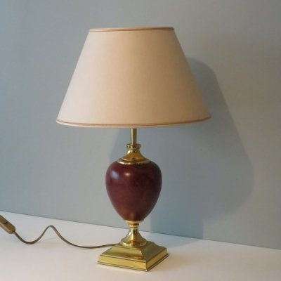 Gold plated with leather desk lamp by Deknudt, Belgium 1970