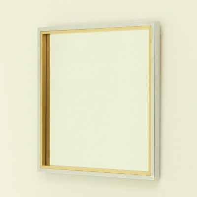 Italian Square Wall Mirror in Brass & Chrome, 1970's