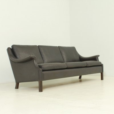 Aage Christiansen Three-seater Sofa in Dark Brown Leather