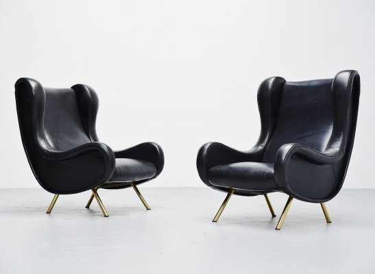 Pair of Marco Zanuso senior lounge chairs for Arflex, Italy 1951