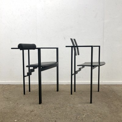 Pair of Memphis style design chairs by Friedrich Förster, 1980s